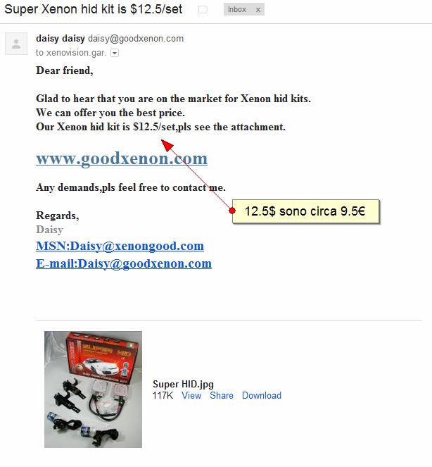 kit xenon cinesi da 10euro venduti su ebay